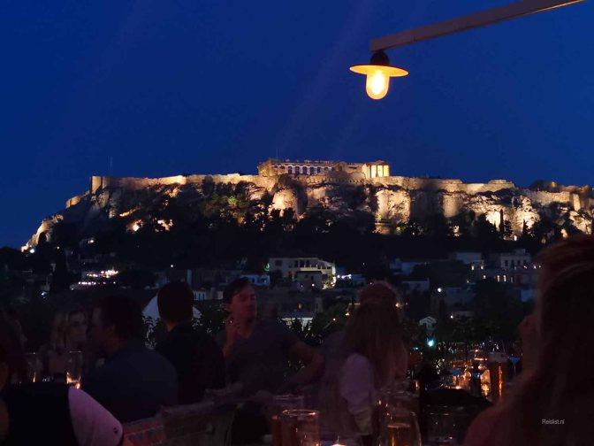 Een mooi aangelicht Acropolis
