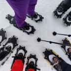 Sneeuwschoenwandelen op de top van de wereld