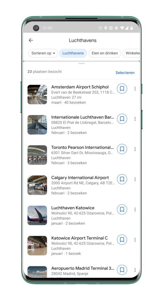 Google Maps-tijdlijn